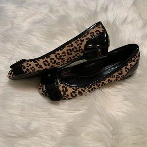 Franco Sarto leopard and patent flats. Size 7.5